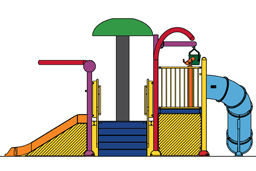 Water Play Structure Model 2702-105 plan view