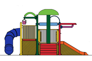 Water Play Structure Model 2702-106 plan view