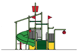 Water Play Structure Model 2704-104 plan view