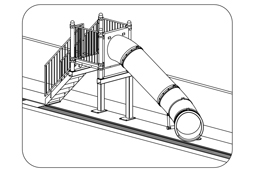 Single Flume Pool Slide Model 7006 plan view