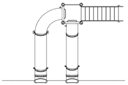 Double Flume Pool Slide Model 9114 plan view