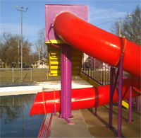 Single Flume Pool Slide Model 1677 with 48 inch wide stairs