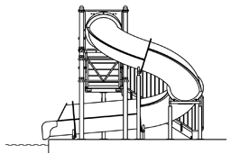 Closed Fiberglass Flume Water Slide Model 1677-32 plan view