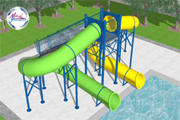 Double Flume Water Slide Model 1689