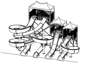 Quadruple Fiberglass Flume Water Slide Model 1927 plan view