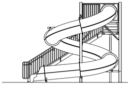 Closed Fiberglass Flume Water Slide Model 1615-32 plan view
