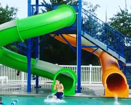 Double Closed Fiberglass Flume Water Slide Model 9412-32
