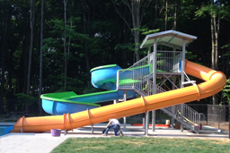 Double Fiberglass Flume Water Slide Model 1860