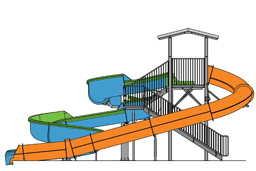Double Fiberglass Flume Water Slide Model 1860 plan view
