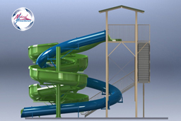 Combination Flume Water Slide Model 1865 3D plan view