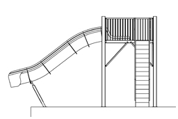 Fiberglass Drop Slide Water Slide Model 1801 plan view