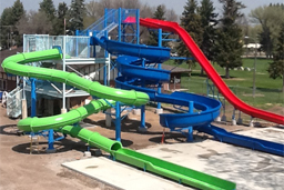 Triple Flume Fiberglass Water Slide with Exit Lanes Model 2047