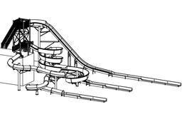 Triple Flume Fiberglass Water Slide with Exit Lanes Model 2047 plan view
