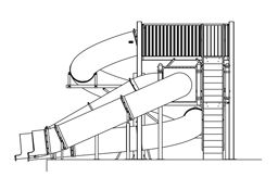 Triple Flume Water Slide Model 9120 plan view
