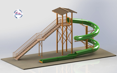 Polyethylene Flume Water Slide Model 1642 with Exit Lane