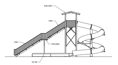 Polyethylene Flume Water Slide Model 1642 with Exit Lane plan view