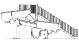 Fiberglass Water Slide Model 1820 plan view