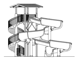 Fiberglass Water Slide Model 1830 plan view