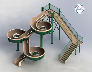 Fiberglass Flume Water Slide Model 1836 - 3D view