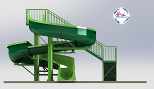 Fiberglass Flume Water Slide Model 1922 - 3D view