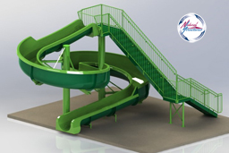 Fiberglass Water Slide Model 1922 - 3D view