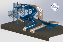 Double Fiberglass Flume Water Slide Model 2040 3D