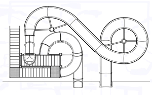 Double Fiberglass Flume Water Slide Model 2040