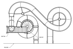Double Fiberglass Flume Water Slide Model 2040 plan view