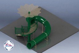 Polyethylene Flume Water Slide Model 1663 with Tree Shade Canopy