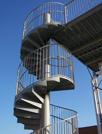 Double Fiberglass Water Slide Model 1837 Spiral Stairs