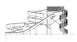 Double Fiberglass Water Slide Model 1837 plan view